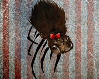 """Fine Art Print - """"Ms. Spider on her Own"""" - Medium Sized Giclee Print - 8.5x11 or 8x10  - Cute Little Spider with a Red Bow"""