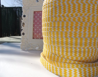 "5 Yards of 5/8"" Chevron Printed Fold Over Elastics FOE - Yellow and White"