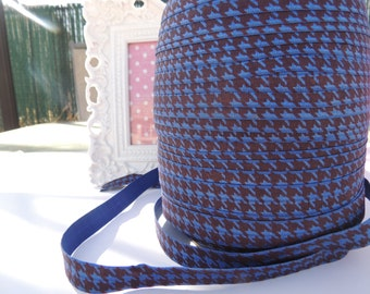 "5 Yards of 5/8"" Houndstooth Printed Fold Over Elastics FOE -Blue and Brown"