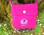 Lavender Sheep on Dark Pink Felted Bag