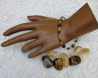Chakra Balancing Bracelet, Solar Plexus Chakra Bracelet,  Tiger Eye and Citrine