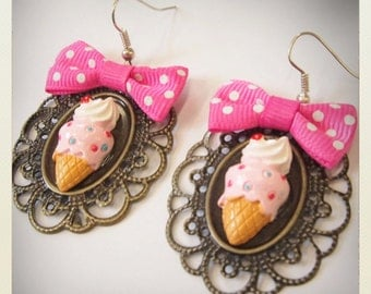 Old school Pin up style kawaii ice cream earrings with bow