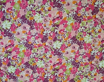 SALE ITEM - lucy locket - liberty of london - 1 metre - pink, green, orange and wine red