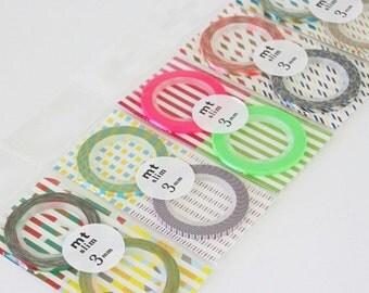 mt washi masking tape - NEW - mt slim 3mm  - set of 2