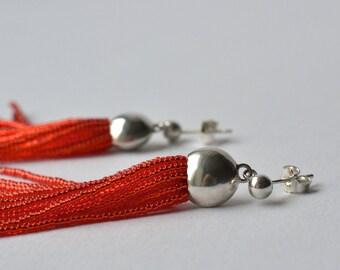 Fringe tassel post earrings vibrant orange