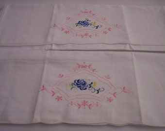 Vintage embroidery on set of pillowcases