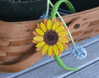 Sunflower headband,  Embroidered, Freestanding Lace
