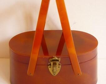 1950s Lucite Plastic Purse Swing Handle Bandbox Caramel Tortoise
