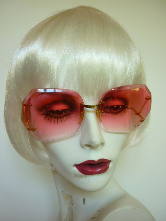 Rimless Butterfly Glasses : 70s 80s PINK Rimless Sunglasses butterfly shape w flower