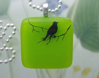 Lime Bird on a Branch Pendant, Fused Glass Jewelry Handmade in North Carolina