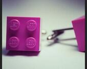 Made from Lego (r) Dark Pink Cufflinks
