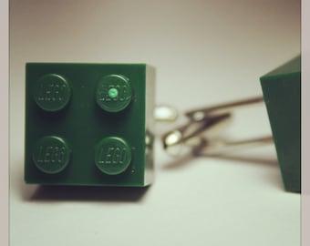Made from Lego (r)  Forest Green 2x2 Brick Cufflinks ~ Accessories Wedding Unisex