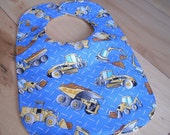 Reversible Baby Bib, Mighty Machines, Triple Layer, Snap Closure