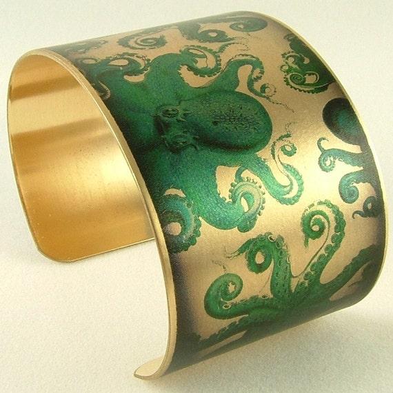 Kraken Cuff Bracelet - Octopus Bracelet - Octopus Art - Nautical Jewelry - Ernst Haeckel Illustration - Natural History Gift - Sea Life