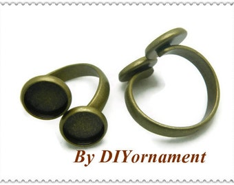 Ring Blanks --5pcs Antique Bronze Ring Base 10mm pad H21--20% OFF
