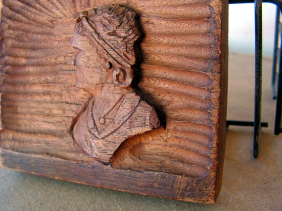 Vintage early american relief wood carving plaque primitive