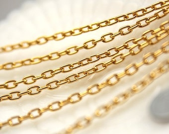Gold Chain - 7mm Strong Gold Tone Chain - 8 feet / 2.5 meters
