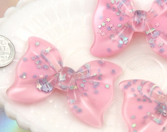 Pastel Cabochons - 56mm Huge Pink Sparkle Ribbon with Pastel Purple Star Confetti Resin or Acrylic Cabochons - 3 pc set