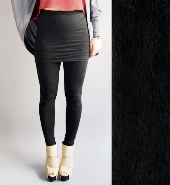 Black Lycra Leggings with Built in Skirt  in  MADE To ORDER