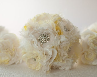 Fabric  Bouquet, Custom Wedding Bouquet, with vintage rhinestone and pearl brooches, choose your colors, Pale yellow