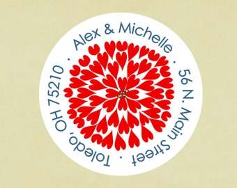 Return address labels, stickers, tags, envelope seals, round--Heart Firework, 4th of July