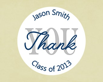 Envelope seals, stickers, labels, tags, round-- Graduation thank you