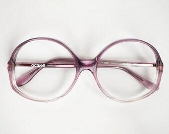 Vintage Transparent Purple 80s Eyeglasses Frames - Transparent 70s Retro Eyewear - Womens Fashion Accessory - Unique Gift