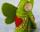 Valentine Heart Fairy Doll in Willow Green-- Waldorf Inspired