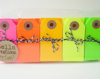 100 Neon Gift Tags - Parcel Tags Assortment
