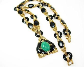Ciner  necklace Vintage signed Asian pendant LOADED with baguettes