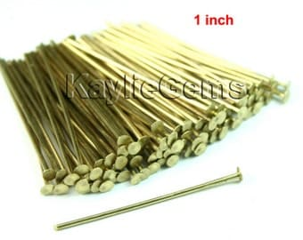 Head Pin 26mm 1 inches 20 Guage Flat Head Raw Brass Heavy Strong -PN-H26x0.8RB - 100pcs