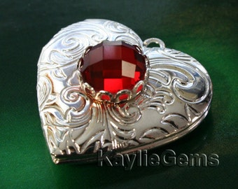 Silver Heart Locket Ruby Glass Baroque Victorian Pendant - 1pc
