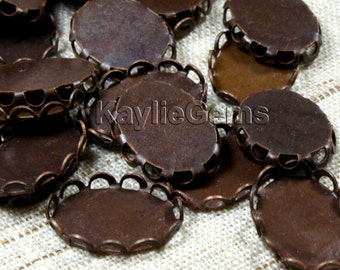 Oxidized Antiqee Brass 14x10mm Lace Edge Scalloped Setting Base -10pcs