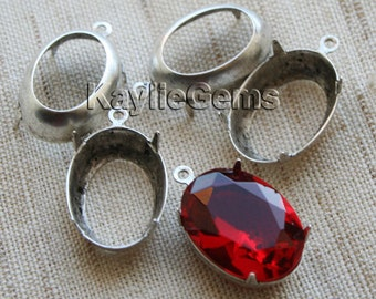 Oval 18x13 Prong Setting Oxidized Sterling Silver Plated Antique Silver OX Open Back - 1 Ring - 4pcs