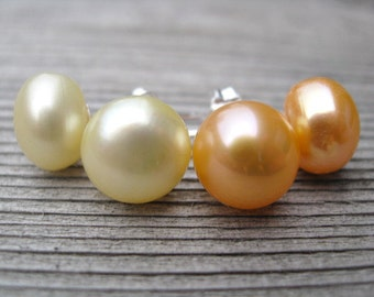 June birthstone jewelry. pearl earrings. peach and yellow pearl studs.