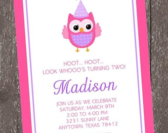 Pink and Purple Owl Birthday Invitations - Any Age