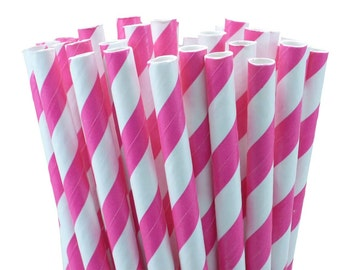 25 Shocking Pink (Hot Pink) Striped Paper Straws with Printable Party Flags PDF File
