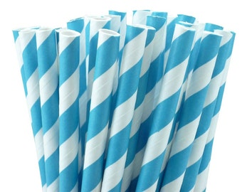 25 Turquoise Blue Striped Paper Straws with Printable Party Flags PDF File