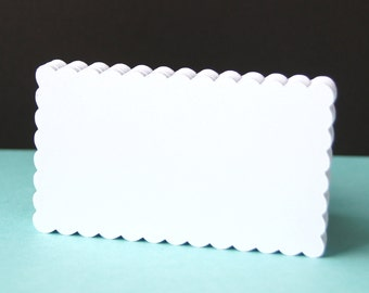24 Scallop Tags or Mini Flat Cards in WHITE (smooth) . 2 x 3.5