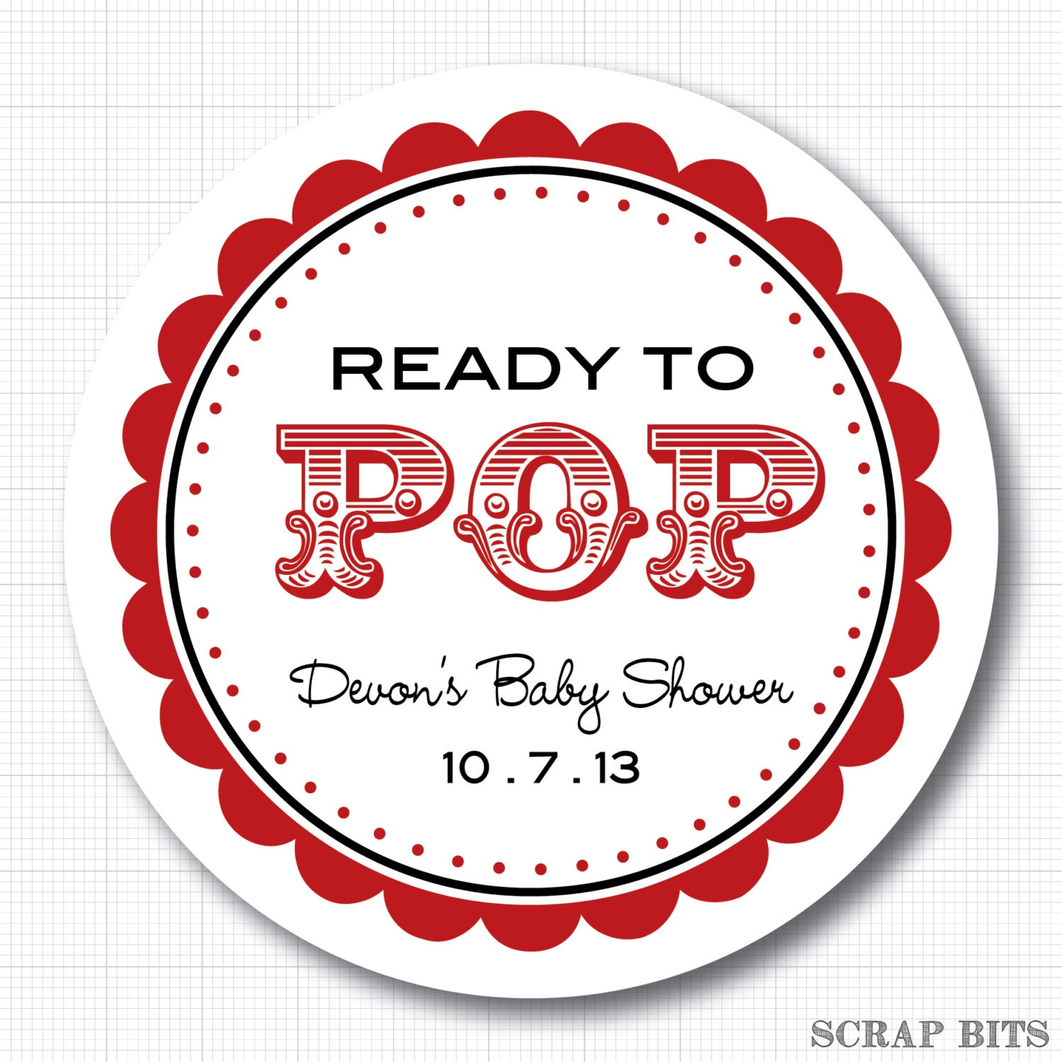 Personalized Ready to Pop carnival Baby Shower Stickers or
