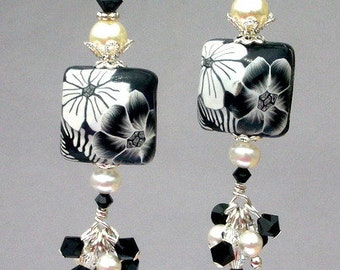 Black and white earrings, floral polymer clay and crystal, black and white cluster earrings, birthday gift for her, holiday gift