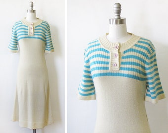 vintage 70s dress, 1970s knit dress, retro sweater dress, ivory and aqua blue striped dress, small s
