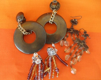 Vintage Tribal Bohemian Festival Jewelry Collection Earrings, Necklaces