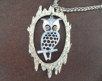 Vintage Owl Necklace 1970s Silver and Gold Signed