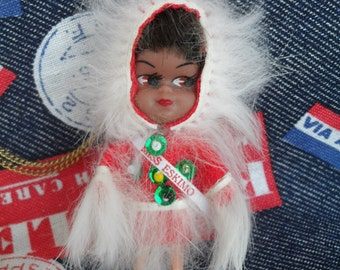 Vintage Miniature Miss Eskimo Doll Necklace with Package 60s Cute Liddle Kiddles Era