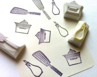kitchen utensil stamp. cooking hand carved rubber stamp. oil bottle, spatula / turner, lemon squeezer stamp. diy scrapbooking. choose option