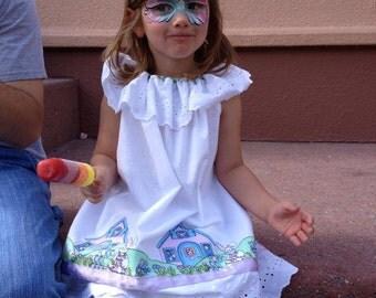 Custom Girls Peasant Dress Ruffled Eyelet Collar Capri Pants White Beach Portrait Photo Dress Girls Easter Border Dress Pants Set