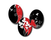 Nature on Red and Black - 13mm x 18mm ovals - Digital collage sheet