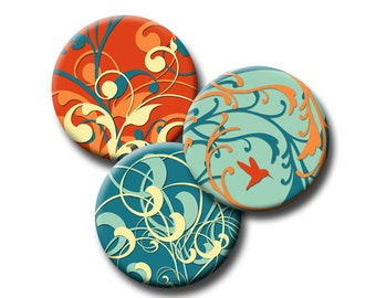 Spring Time Swirls in Teal and Orange - 12mm, 16mm and 18mm circles - (3) Digital collage sheets