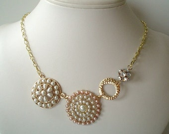 Goldtone Brooch Style with Pearls Statement Necklace